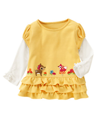 Amber Yellow Forest Friends Double Sleeve Ruffle Top by Gymboree