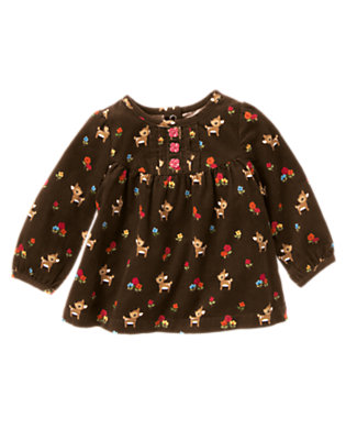 Forest Brown Deer Flower Corduroy Top by Gymboree