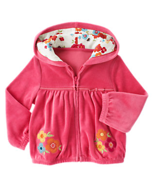 Toddler Girls Autumn Pink Flower Ribbon Velour Hoodie by Gymboree