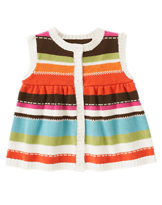 Toddler Girls Autumn Pink Stripe Stripe Sleeveless Sweater Cardigan by Gymboree