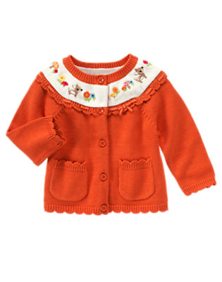 Toddler Girls Poppy Orange Embroidered Deer Sweater Cardigan by Gymboree