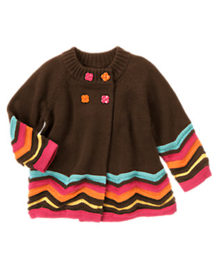 Toddler Girls Forest Brown Zigzag Stripe Sweater Cardigan by Gymboree