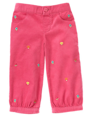 Autumn Pink Embroidered Flower Corduroy Pant by Gymboree
