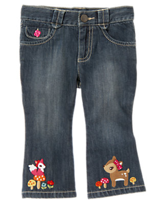 Toddler Girls Denim Fox And Deer Jean by Gymboree