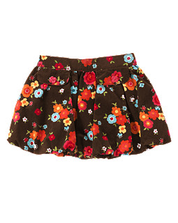 Flower Corduroy Bubble Skirt