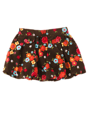 Toddler Girls Forest Brown Floral Flower Corduroy Bubble Skirt by Gymboree