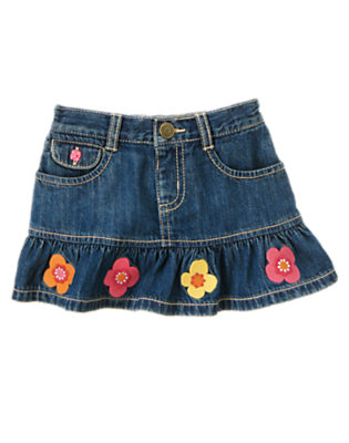 Toddler Girls Denim Flower Ruffle Jean Skirt by Gymboree
