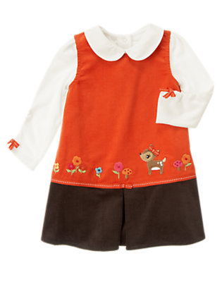 Poppy Orange Deer Corduroy Jumper Two-Piece Set by Gymboree