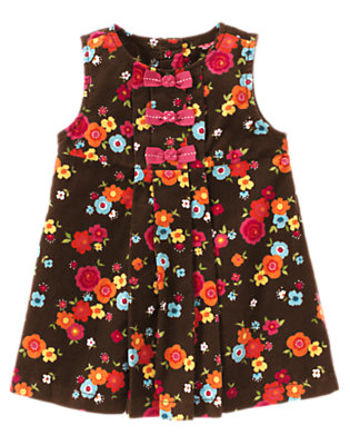 Forest Brown Floral Bow Flower Corduroy Jumper by Gymboree
