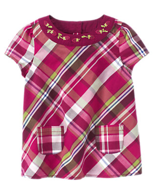 Plum Plaid Embroidered Plaid Top by Gymboree