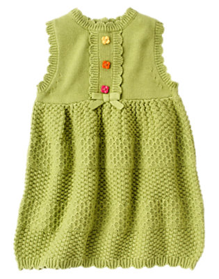 Toddler Girls Acorn Green Flower Button Sweater Jumper by Gymboree