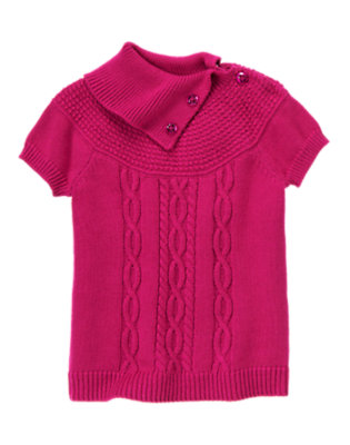 Girls Bright Raspberry Pink Gem Button Cable Sweater by Gymboree