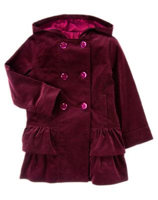 Girls Dark Plum Gem Button Velvet Corduroy Coat by Gymboree