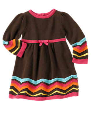 Toddler Girls Forest Brown Zigzag Stripe Sweater Dress by Gymboree