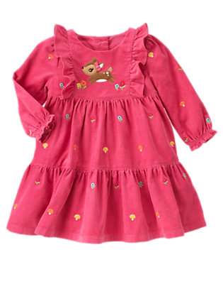 Toddler Girls Autumn Pink Deer Embroidered Corduroy Dress by Gymboree