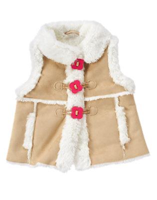 Khaki Faux Shearling Vest by Gymboree