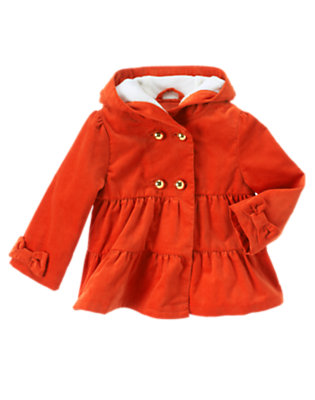 Toddler Girls Poppy Orange Velvet Corduroy Hooded Jacket by Gymboree