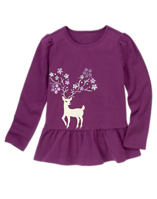 Princess Purple Gem Sequin Deer Tunic Top by Gymboree