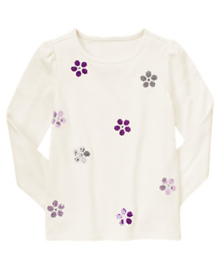 Winter Ivory Gem Sequin Snowflake Tee by Gymboree