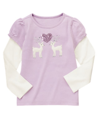Sweet Lavender Sequin Deer Heart Double Sleeve Tee by Gymboree