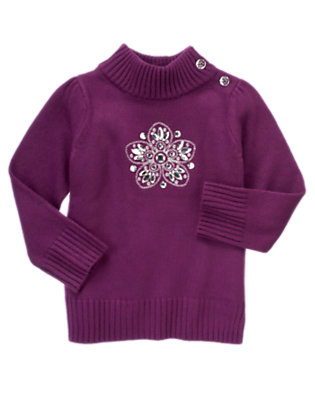 Girls Princess Purple Gem Snowflake Sweater by Gymboree