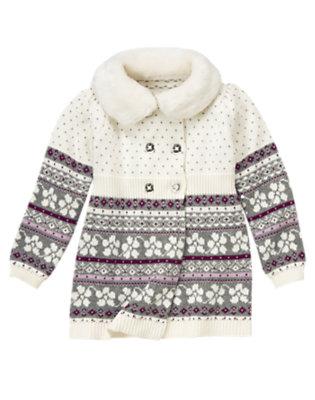 Winter Ivory Fair Isle Faux Fur Fair Isle Sweater Coat by Gymboree