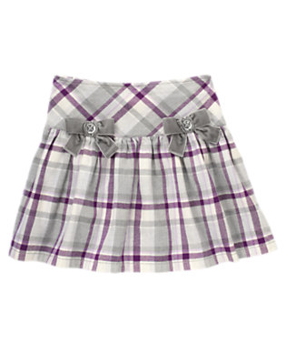 Misty Grey Plaid Velvet Bow Plaid Skort by Gymboree