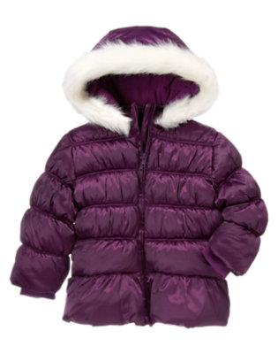 Princess Purple Faux Fur Hooded Puffer Coat by Gymboree