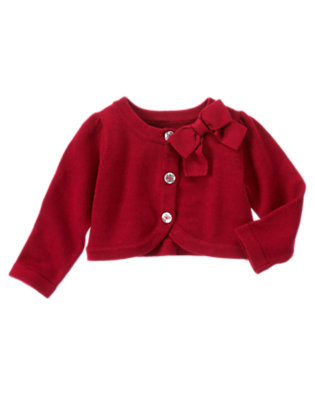Toddler Girls Holiday Red Bow Crop Sweater Cardigan by Gymboree