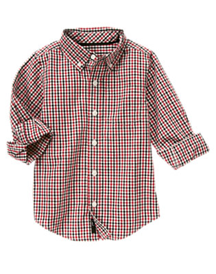Boys Holiday Red Check Checked Shirt by Gymboree