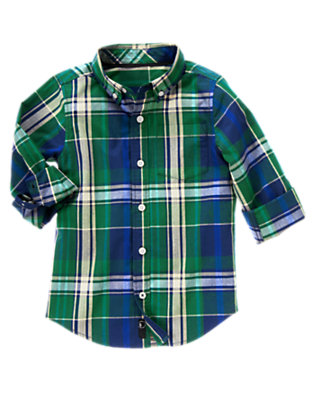 Boys Spruce Green Plaid Plaid Shirt by Gymboree