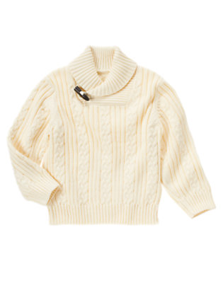 Classic Ivory Shawl Collar Cable Sweater by Gymboree