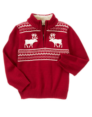 Boys Holiday Red Reindeer Fair Isle Sweater by Gymboree