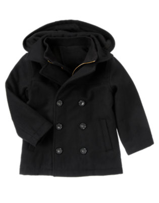 Black Woolen Peacoat by Gymboree