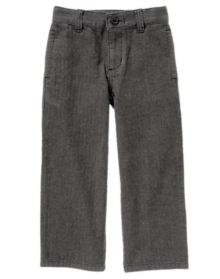 Boys Grey Herringbone Herringbone Pant by Gymboree