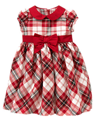 Toddler Girls Holiday Red Plaid Plaid Duppioni Dress by Gymboree