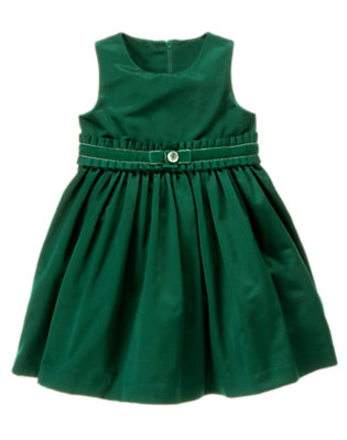 Emerald Green Pleated Ruffle Taffeta Dress by Gymboree