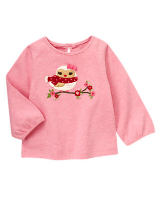 Heathered Rose Flower Owl Tee by Gymboree