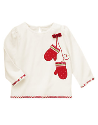 Winter Ivory Bow Mitten Tee by Gymboree