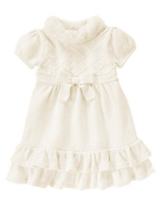 Toddler Girls Ivory Faux Fur Collar Sweater Dress by Gymboree