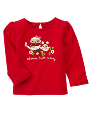 Cheery Red Mommy & Baby Owl Tee by Gymboree
