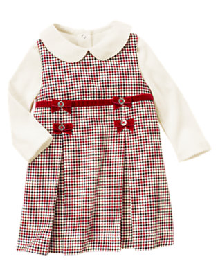 Toddler Girls Holiday Red Check Velvet Bow Checked Jumper Two-Piece Set by Gymboree