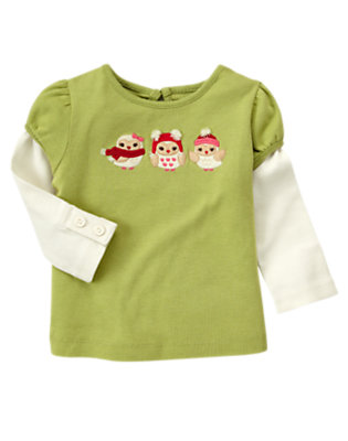 Apple Green Owl Trio Double Sleeve Tee by Gymboree