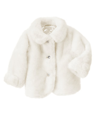 Toddler Girls Ivory Faux Fur Jacket by Gymboree