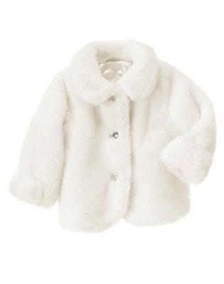 Ivory Faux Fur Jacket by Gymboree