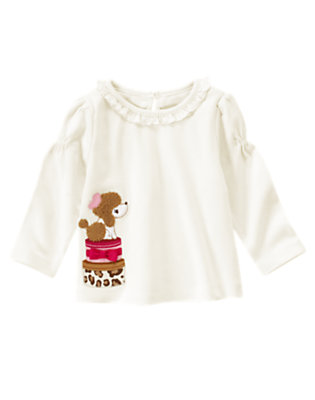 Ivory Poodle Hat Box Ruffle Tee by Gymboree