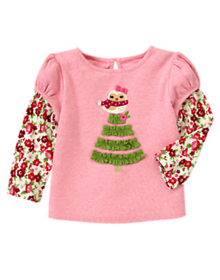 Heathered Rose Owl Tree Double Sleeve Tee by Gymboree
