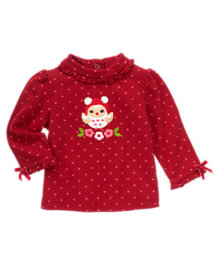 Cranberry Red Dot Flower Owl Dot Turtleneck Top by Gymboree
