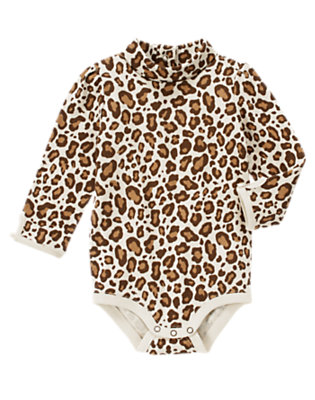 Ivory Leopard Leopard Turtleneck Bodysuit/Tee Shirt by Gymboree