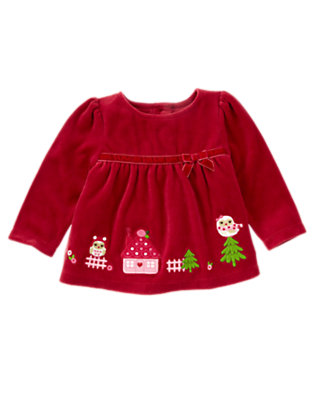 Cranberry Red Owl Scenic Velour Top by Gymboree